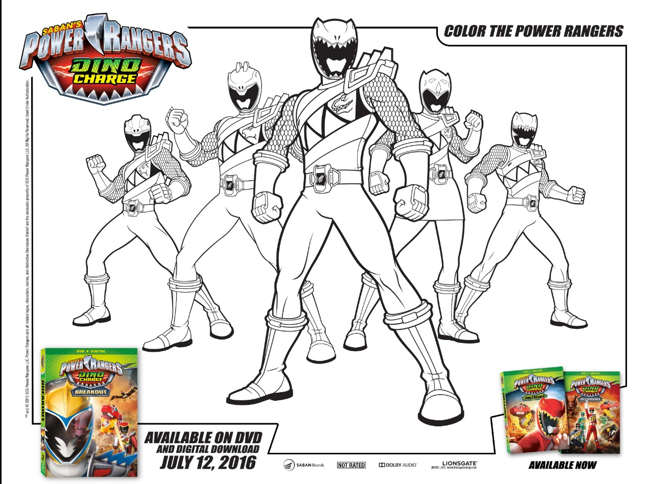 Power Rangers Dino Charge Activity Sheets - According to